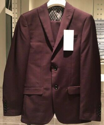 Limehaus Slim Fit Burgundy Two Piece Suit Chest 36 Short Waist 30 Short BNWT
