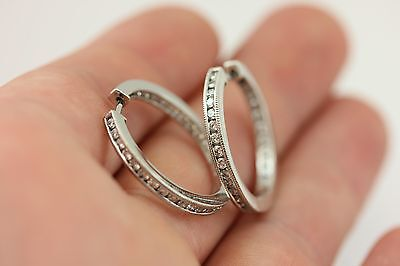 "14k white gold 1.04ctw round diamond inside outside hoop earrings 2mm 1"" estate"