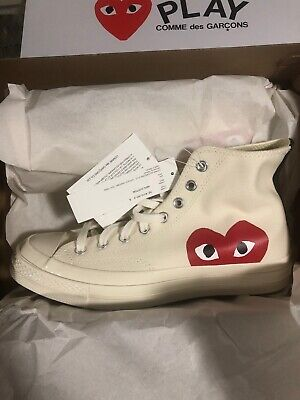 Converse Cdg Chuck Taylor All Star Comme Des Garcons Play White Size 8 Mens Ds