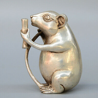 Collect China Old Miao Silver Hand-Carved Lovely Mouse Read Book Decor Statue