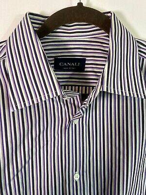 CANALI ITALY MEN'S LONG SLEEVE STRIPPED BUTTON DOWN DRESS SHIRT size 17.5/44 XL