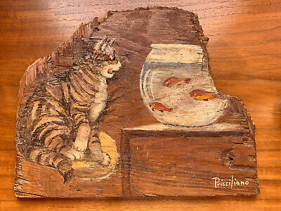 Vintage Folk Art Cat And Fish Bowl Painting on Wood Signed Prisciliano Cal