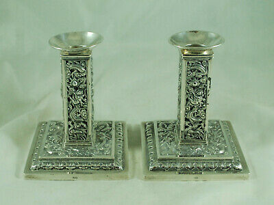Antique Chinese Silver Candlesticks By Wang Hing 316g 11cm EDFZX008