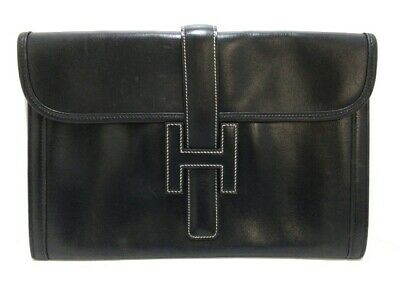 Auth HERMES Jige PM Black Taurillon Clemence Circle H Clutch Bag