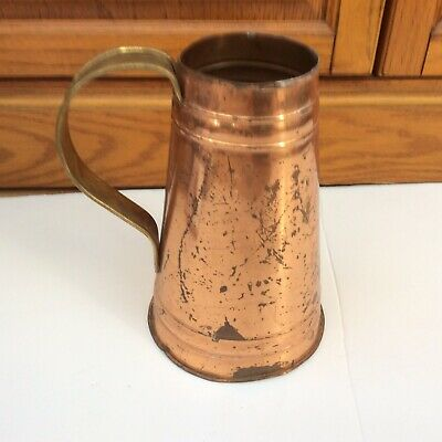 "Antique Vintage Copper Like Pitcher Vase Brass Handle Patina 8"" Tall"