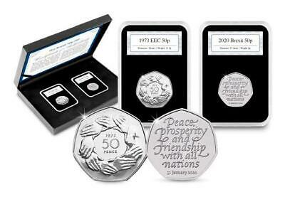 Official Brexit 50p Coin Pair Set 1973 EEC Entry & 2020 Withdrawal From EU Boxed