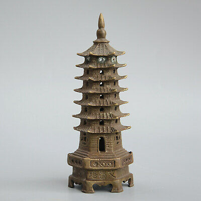 Collectable China Old Bronze Hand-Carved Bring Luck Exorcism Tower Model Statue