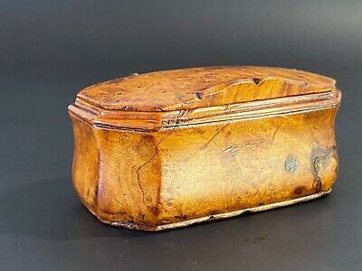 Very Rare C1750 FRENCH BURR SNUFF BOX CARVED ANTIQUE 18thC TREEN BURL WOOD Pinto