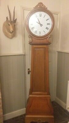 Tall Drum Grandfather Clock  Repro Quartz Fitting Interior Shelves