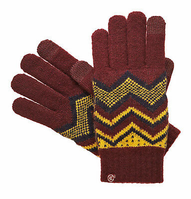 Isotoner Smart Touch Womens Gloves Port Wine Knit Zig Zag Tech Smartouch Texting