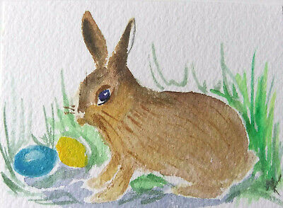ACEO Easter Rabbit Bunny  Original Watercolor painting  Art  2.5x3.5in by MK