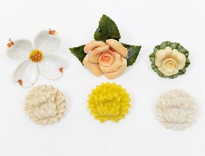10 Vintage Metal / Plastic Curtain Pin or Tie Backs Floral Designs