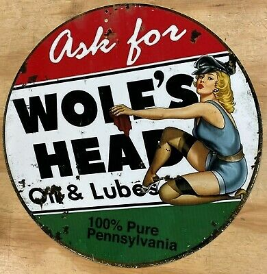 Wolfs Head Oil & Lubes Pin Up Aluminum Distressed Looking Metal Sign 12""