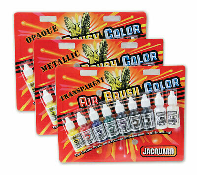 Jacquard Airbrush Colours 9pk Air Brush Paint Fabric Wood Leather CHOOSE UR SET