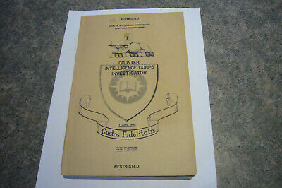COUNTER INTELLIGENCE CORPS Agent Training Manual C.1949 Restricted