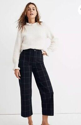 Madewell Slim Emmett Wide-Leg Crop Pants in Space-dyed Windowpane Check Size 28