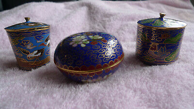Antique Chinese Enamel Cloisonne Boxes Lot of 3
