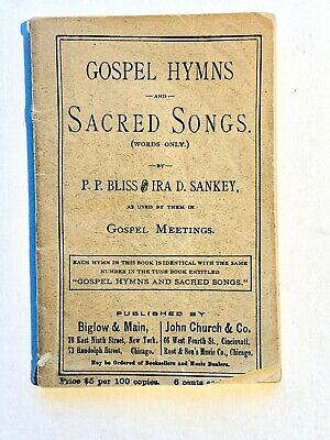 1875 - Gospel Hymns and Sacred Songs small booklet by Sankey 95 pages