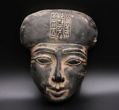 RARE EGYPT EGYPTIAN ANTIQUES Mask STATUE Pharaoh Old Face Black Carved STONE BC