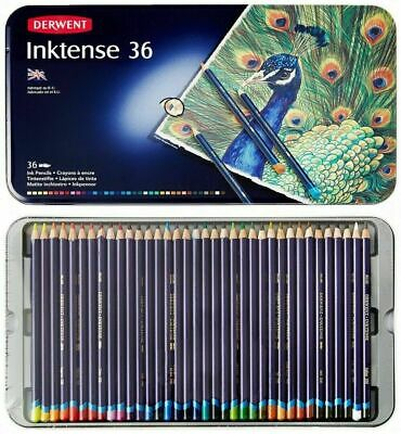 36 Colours Derwent INKTENSE Watercolour Pencils in Tin Art Adult Colouring Books