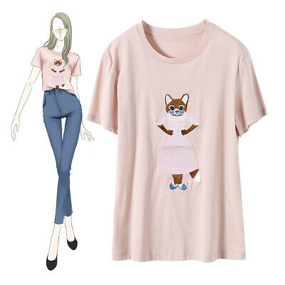 Women's Solid Colour Cotton Fox Lady Embroidery T-Shirt