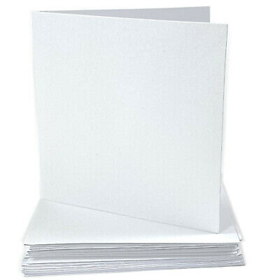 DIY Blank WHITE Shimmer 10cm Square Cards & Envelopes Wedding Invitations Pearl