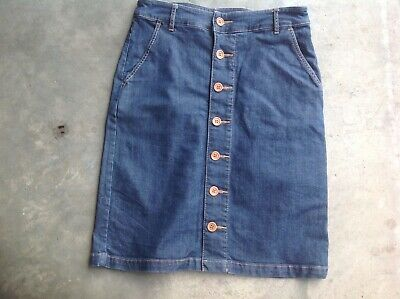 Country Road Button Thru Denim Skirt 6 As New