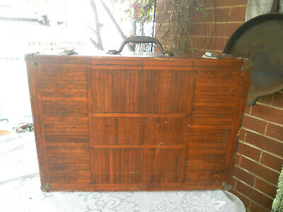 1950's ANTIQUE/VINTAGE HANDMADE RUSTIC WOOD/NATURAL TIMBER DISPLAY CARRY CASE