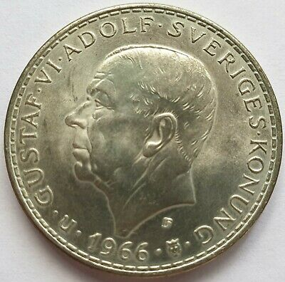 Sweden 5 kroner 1966 silver coin 0.2315oz ASW Parliament Reform centenary