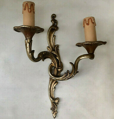 Vintage French Gold Colour Ornate Double Candle Sconce Electric Wall Light