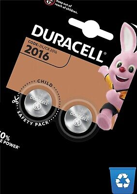 2X Duracell CR2016   3V Lithium Coin Cell Battery 2016 DL2016 BR2016 SB-T11 2Off