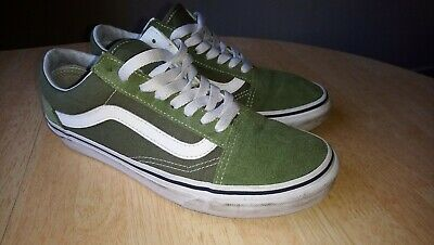 VANS Old Skool Skate Shoes Khaki Green/White Classic Canvas Sneakers size 6