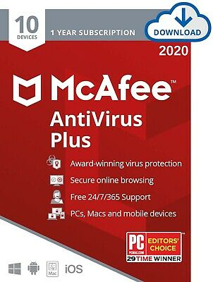 New McAfee AntiVirus Plus 2020 (not 2019) 10 Devices 1 YR Full Activate Download