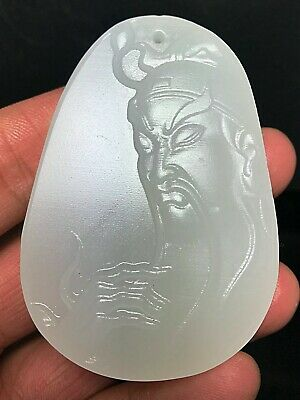 Nephrite Xinjiang As Milk White Jade Seed material Guan Gong Hand-carved Pendant