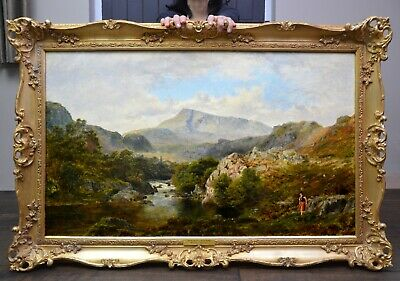 Large Fine Antique 19th Century Victorian Landscape Oil Painting of North Wales