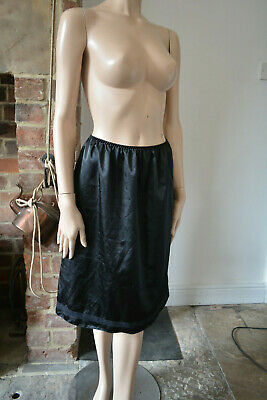 Lovely smooth Marks Spencer M&S black under slip skirt M 12 knee length 65cm