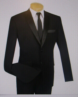 Men's VERNO Black Classic Fit Formal Tuxedo Suit w/ Sateen Lapel & Trim #1931