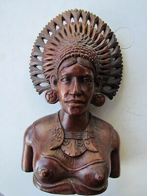 Vintage Hand Carved Balinese Ornate Wood Bust