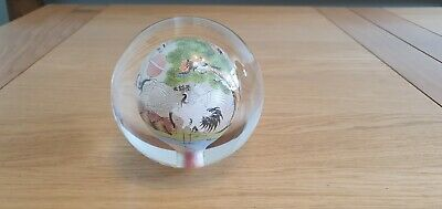 Vintage Chinese Reverse Hand Painted Glass Ball Paperweight
