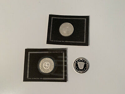 Treasure Coins of the Caribbean Sterling Silver $20 FRANKLIN MINT 1980s Set of 3