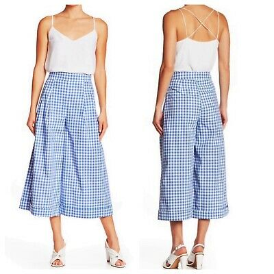 ENGLISH FACTORY Gingham High Waist Culottes Size Large
