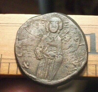 BYZANTINE ANCIENT  bronze coin Jesus Christ 9.57 g 30 mm latin cross