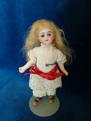 Cute blonde angel antique dollhouse doll dated about 1890 mignonette doll