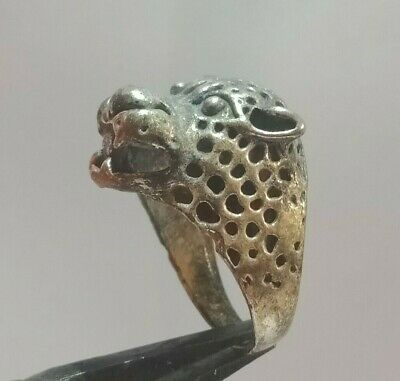 Excellent Rare Post Medieval Wonderful Tiger  Silver Ring