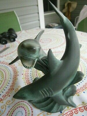 Vintage Gorham Rulers of the deep Great white sharks Sculpture 1995
