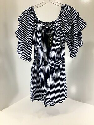 Boohoo Women's Off The Shoulder Mia Extreme Ruffle Striped Playsuit US:6 NWT @