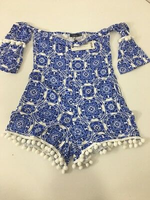 Boohoo Women's Ots Effy Tie Print Playsuit Blue/White Uk:10/Us:6 Nwt