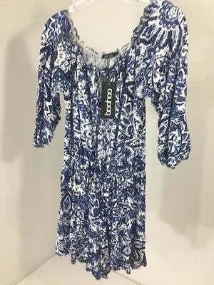 Boohoo Women's Anna Printed Off The Shoulder Playsuit Navy/White Uk:10/Us:6 Nwt