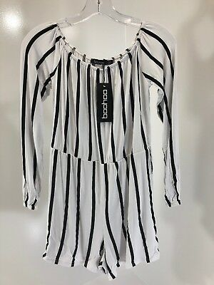 Boo-Hoo Women's Selena Striped Off The Shoulder PlaySuit Black White US 4/UK 8