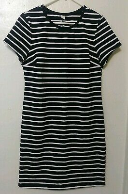 NWOT Old Navy Black and White Striped Short Sleeve Knit Dress Womens Size L